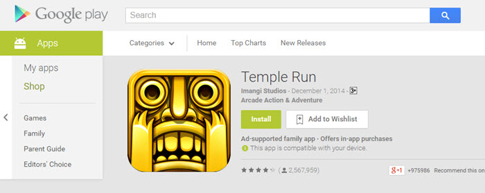 Temple Run For PC Using APK File